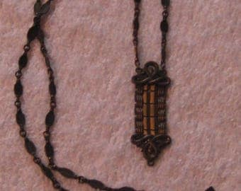 1928 Brass/ copper  Chain Pendant Art Deco Design