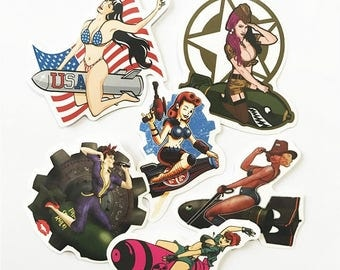 6pcs/lot Sexy girl pinup girls car styling Stickers on Suitcase Laptop Vinyl autocollant Bomb waterproof motorcycle