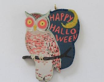 Owl & Crescent Moon * Halloween Ornament * Vintage Image * Glittered