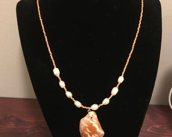Copper and Faux Pearl Necklace with Shell Pendant
