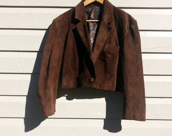 Cropped Brown Suede Leather Jacket