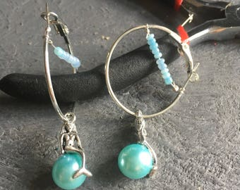 Mermaid and bead hoop earrings