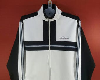 Vintage Alpha Cubic Sport Jacket Sweater Track Top Sweater White Black Colour Block Shirt Size L Adidas Sweater Nike Sweater Hip Hop Pop Art