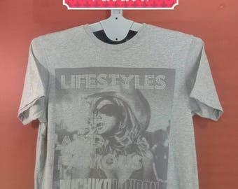 Vintage Michiko London Tee Koshino Shirt Spellout Printed Front Shirt Gray Colour Size M Adidas Shirts Polo RL Shirts Issey Miyake Shirts