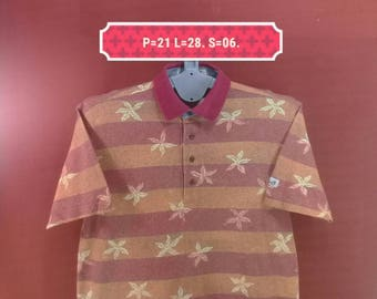 Vintage Hawaiian Shirt Paradiso Shirt Stripe Shirt Orange Red Colour Size M Made in Japan Polo Stadium Shirts Sun Surf Beach Club Shirts