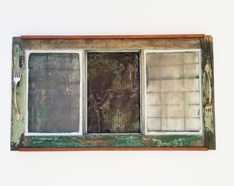 Reclaimed Window & Roofing Tin Serving Tray