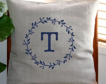 Personalised Monogram Cushion Cover with Gumnut Wreath [Flax]
