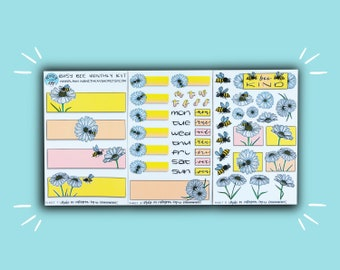 Busy Bee Monthly Kit | Monthly Planner Sticker | Bullet Journal Stickers | Stickers for Planners & Journals | Journaling Supplies
