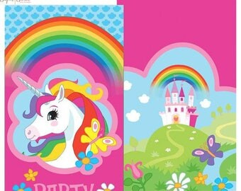 SALE Unicorn Rainbow Party Invitations, Unicorn Party, Rainbow Party, Birthday Party, Rainbow Birthday, Unicorn Birthday, Invitations