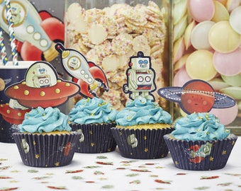 Rocket Space Adventure Cupcake Kit, Space Party. Rocket, Planets, Birthday Party, Cake Toppers, Cupcake, Moon