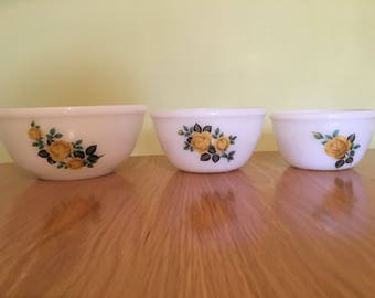 REDUCED Three Phoenix Opalware Yellow Rose Mixing Bowls