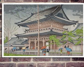 Japanese temple poster.Ninnaji temple. Japanese print.