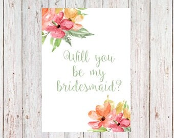 Will you be my bridesmaid invitation card (light green)