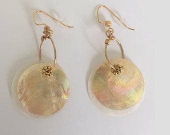 Gold and White Shimmer Sea Shell Hoop Dangle Earrings