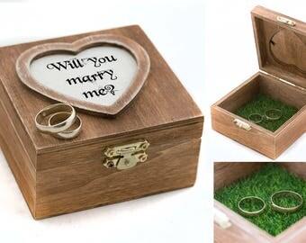 Will you marry me Proposal Box Ring Bearer box Wedding ring box Personalized wedding box Engagement box Ring Bearer Pillow Custom ring box
