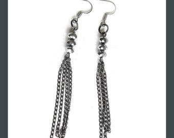 Chains and silver crystal earrings