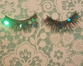 Mermaid glitter false eyelashes
