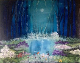 Nightfall at the Pond oil painting