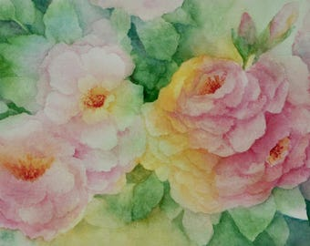 Translucent Roses, Original Watercolor