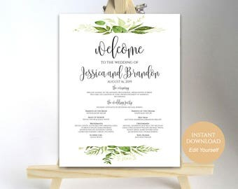 Wedding Program Sign Welcome Wedding Sign Wedding Sign Wedding Poster Template Instant Download PDF 16x20, 18x24, 20x30, 24x36 Greenery