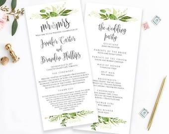 Printable Wedding Program Template Mr & Mrs Ceremony Program Order of Ceremony Wedding Template Wedding Programs Instant Download Greenery