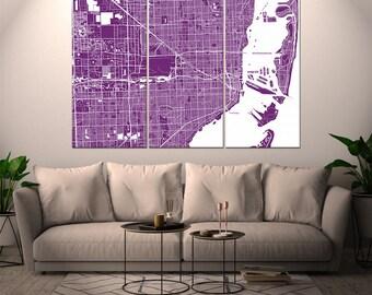 Miami Florida / City Map / Canvas Print / Wall Art / Large 3, 5 or 6 panel