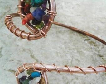 Gemstone Swirl Copper Cuff