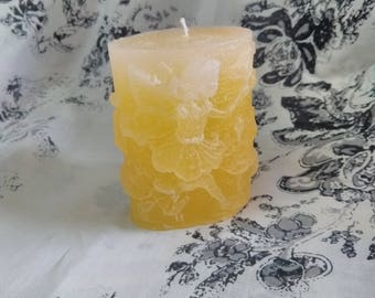 Faded Lemon yellow Oval Fairy Candle
