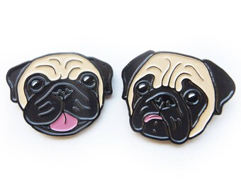 Cheerful Pug & Concerned Pug Enamel Pins