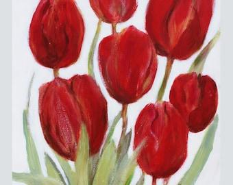 Original painting, 'Tulips' red tulips, acrylic on paper, red flowers, painted flowers, floral painting