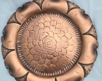 Midcentury handhammered gregorian copper plate