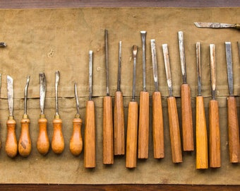 37 set of antique wood carving tools, Henry Taylor Sheffield