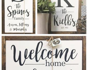 """8""""x 13 CUSTOM FAMILY Framed Wood Sign"""