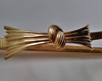Vintage 70s Gold Bow Waist Belt