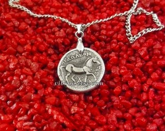 Goddess Athena & Horse Ancient Greek Coin Necklace Pendant