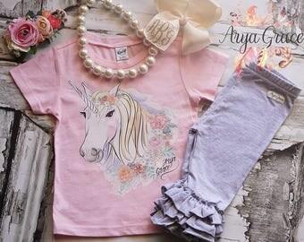 Light Pink Short Sleeve Vinyl Unicorn Tee