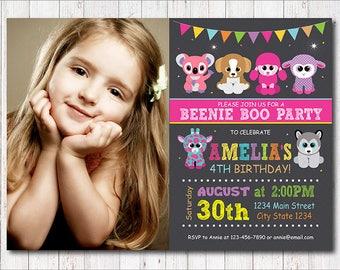 Beanie Boo Invitation, Beanie Boo Invite, Beanie Boo Birthday, Beanie Boo Party, Photo invitation, printable