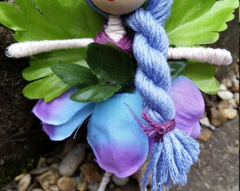 Purple and blue Flower Fairy with pretty twisted braid