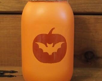 Halloween bat mason jar