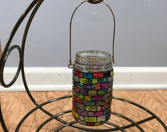 Glass lantern, Home decor, Lantern candle, Stained glass lantern