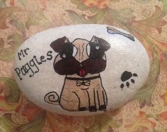 Mr Puggles Pebble Art