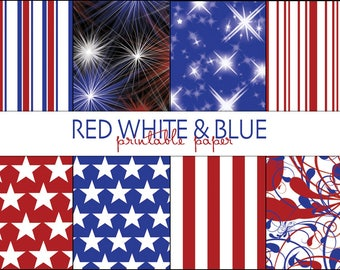 Red White & Blue Digital Paper