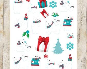 Christmas Polar Bear stickers