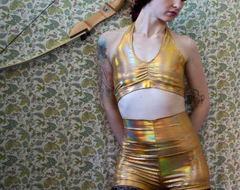 Holographic gold spandex halter crop & high waisted booty shorts