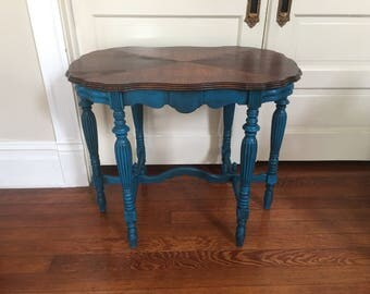Antique teal blue accent table