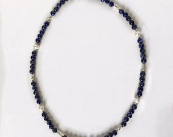 Lapis Lazuli and fresh water pearls