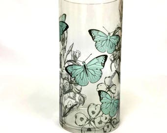 Personalised Butterfly Wrap Printed Glass Vase - Add Your Choice of Message