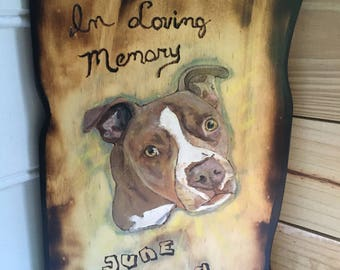 Pit Bull In Memory Of, Pet Portrait On Wood, Pet Tribute On Wood, Dogs