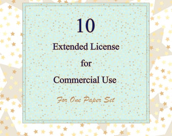 10 Extended License for Commercial Use - discount bundle, Extended Commercial Licenses for 10 digital paper sets up to 1000 prints for each.