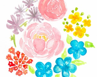 Floral Watercolor 5x4 Blank Greeting Card {weddings, birthdays, housewarming, hello}
